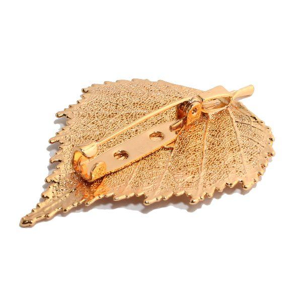 Brosche Birke Gold Rückseite
