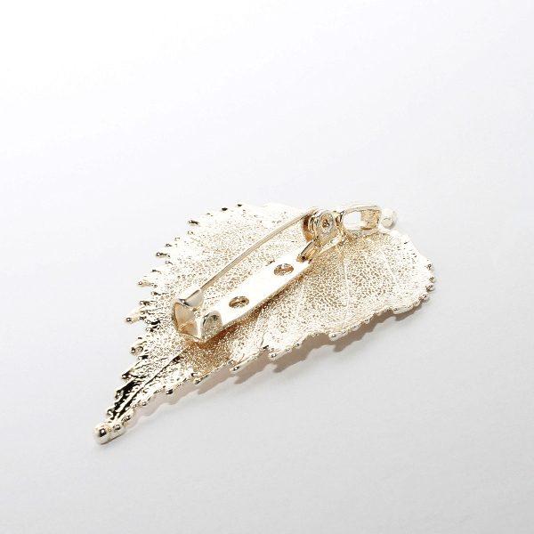 Brosche Birke Silber Rückseite