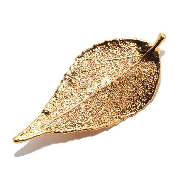 Immergrün Gold Brosche